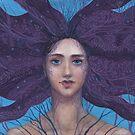 Primavera, Surreal Portrait, Blue Violet by clipsocallipso
