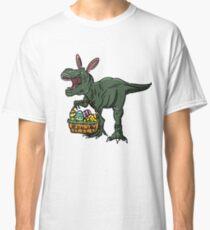 Camiseta clásica Camiseta de Pascua dinosaurio en orejas de conejo. Cesta del huevo de Pascua / camiseta de Pascua | Happy Family Easter Tee Idea de regalo.