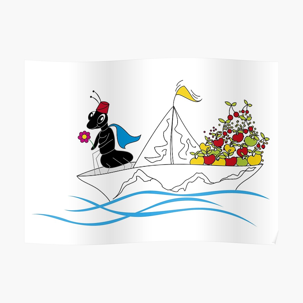 """Ant Martina Franca ant on paper boat"""" sticker by creatinery   redbubble"""