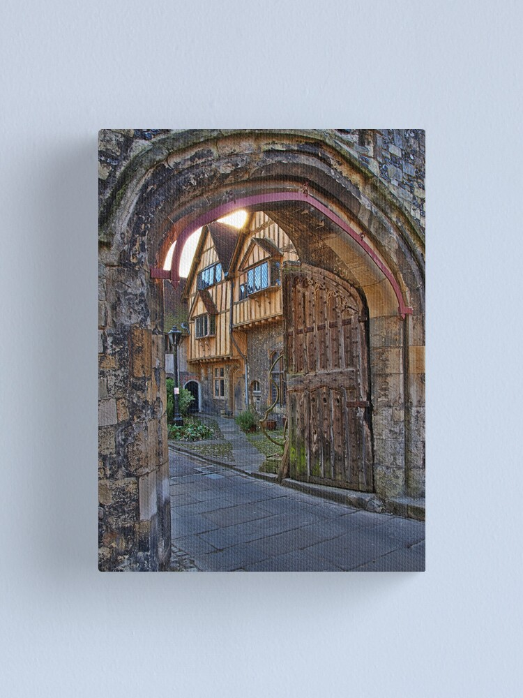 Alternate view of St Swithun's Gate and the Porter's Lodge - Winchester Cathedral Canvas Print
