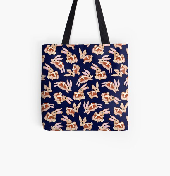Hot Cross Bunnies - Navy All Over Print Tote Bag