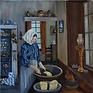 """Irish Servant Making Butter"" - Oil Painting by Avril Brand"