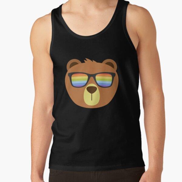 Gay Bear Wearing Bear Pride Lgbtq Flag Sunglasses  Tank Top