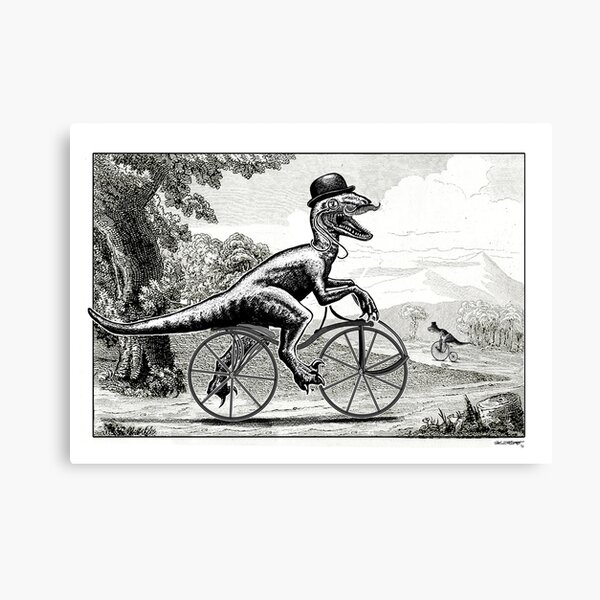 Velociraptor on a Velocipede Canvas Print
