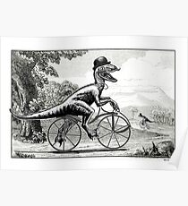 Velociraptor on a Velocipede Poster