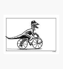 Velociraptor on a velocipede Photographic Print