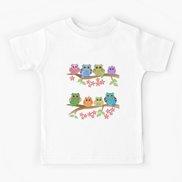 Cute colourful owls on branches Kids T-Shirt