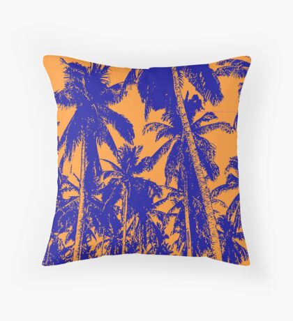 Palm Trees in a Posterised Design Throw Pillow