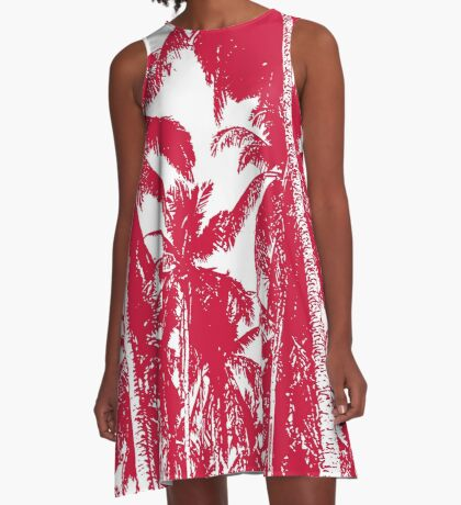 Palm Trees in a Posterised Design A-Line Dress