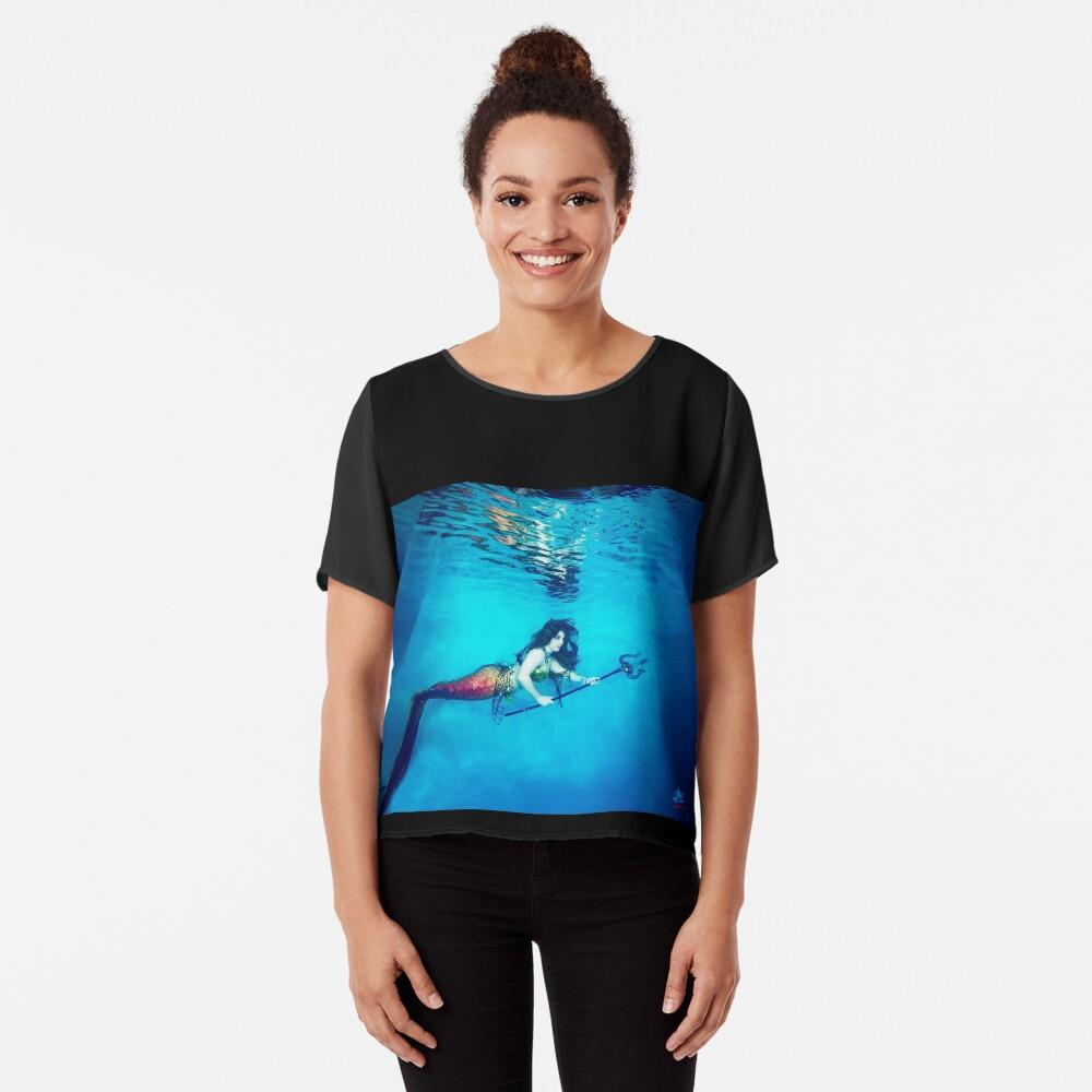 Mermaid Krieger reflektiert unter Wasser Chiffon Top