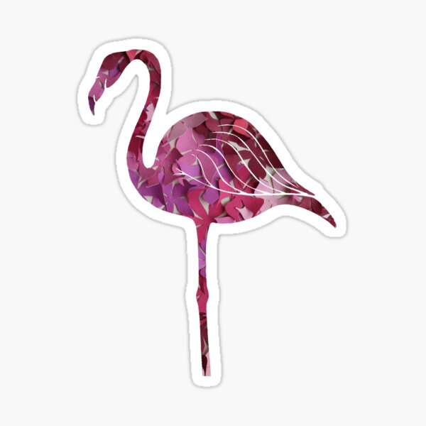 Pink Flower Flamingo Sticker
