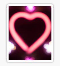 Neon love heart shape sign at night photo Sticker
