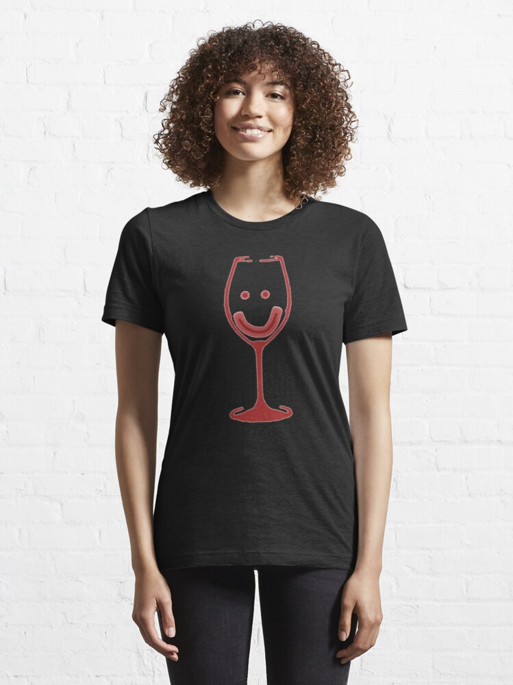 Alternate view of Smiley Wine Glass Essential T-Shirt