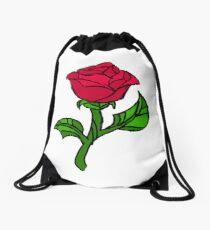 Stained Glass Rose Drawstring Bag