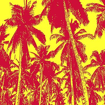 Palm Trees in a Posterised Design  This pattern is of palm trees against a clear sky, with a posterised effect.  by NigelSutherland