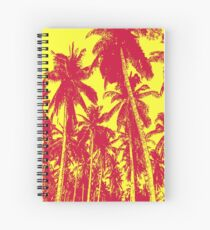 Palm Trees in a Posterised Design  This pattern is of palm trees against a clear sky, with a posterised effect.  Spiral Notebook