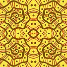 Helices, Abstract Arabesque Pattern, Yellow Brown by clipsocallipso
