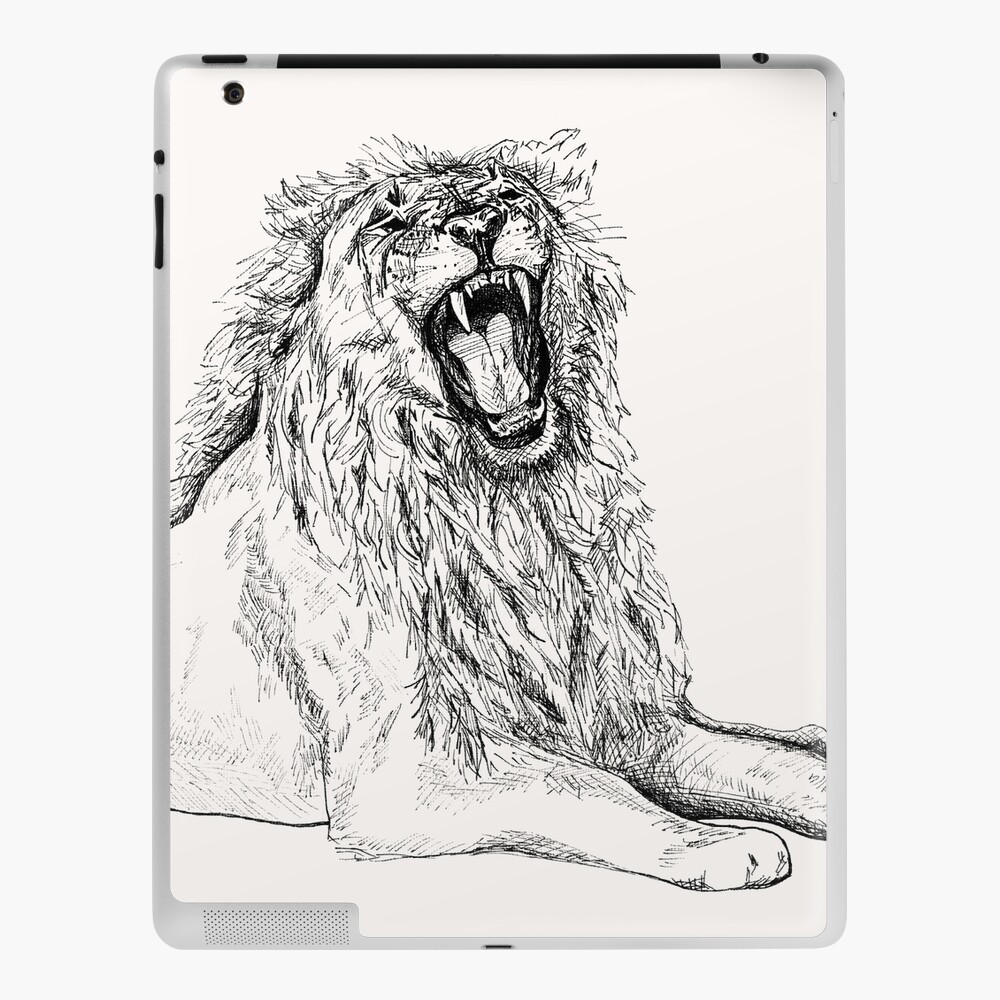 Back Off Please Roaring Lion Drawing Ipad Case Skin By Bluehazestudio Redbubble Try to draw tufts rather than the single hair. redbubble