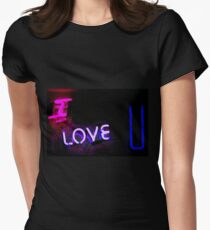 I love you neon light sign at night photograph romantic designs T-Shirt