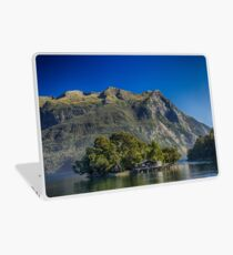 Lake Island House & Mountains, HD Photograph Laptop Skin