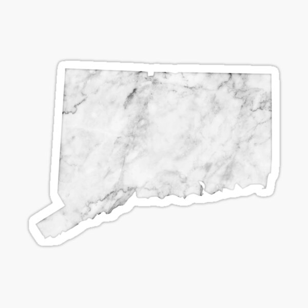 Connecticut - White Marble Sticker