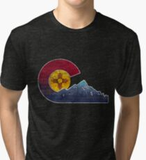 New Mexico To Colorado Transplant Flag Inspired Tri-blend T-Shirt