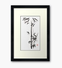 Bamboo stalks with leaves Japanese Zen Sumi ink painting on white rice paper art print Framed Print