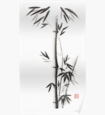 Bamboo stalks with leaves Japanese Zen Sumi ink painting on white rice paper art print Poster