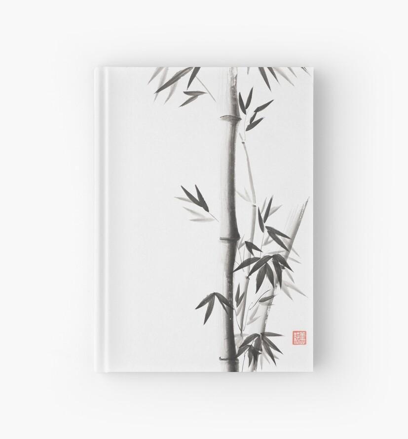 Cuadernos de tapa dura «Tallos de bambú con hojas Pintura de tinta ...