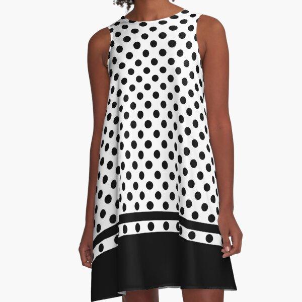 White and Black Polka Dots Pattern A-Line Dress