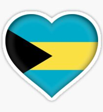 I Love The Bahamas Flag Sticker Sticker