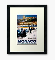 MONACO GRAND PRIX; Vintage 1966 Auto Racing Print Framed Print