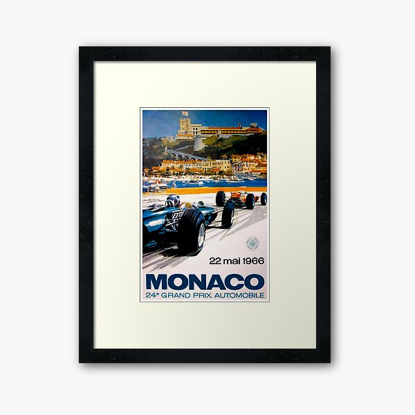 MONACO GRAND PRIX; Vintage 1966 Auto Racing Print Framed Art Print