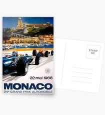 MONACO GRAND PRIX; Vintage 1966 Auto Racing Print Postcards