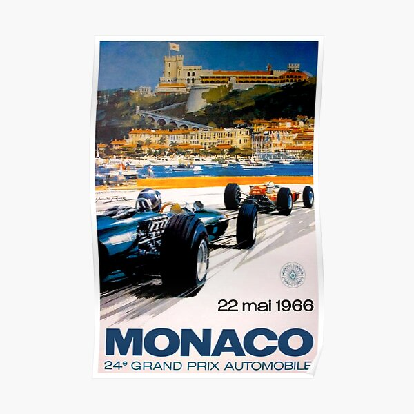 MONACO GRAND PRIX; Vintage 1966 Auto Racing Print Poster