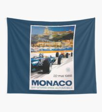 MONACO GRAND PRIX; Vintage 1966 Auto Racing Print Wall Tapestry