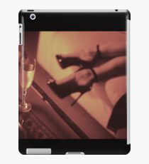 Sexy young lady in stiletto high heel shoes and glass of champagne iPad Case/Skin