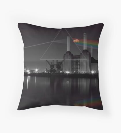 Battersea pink floyd pig and prism Throw Pillow