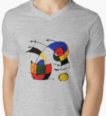 In The Style of Joan Miro Men's V-Neck T-Shirt