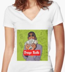 Rich The Kid Trap Talk Women's Fitted V-Neck T-Shirt