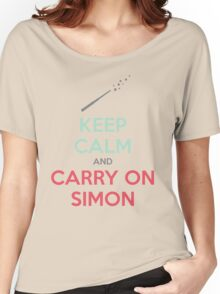 Keep Calm and Carry On Simon (Multi-Color Text) Women's Relaxed Fit T-Shirt