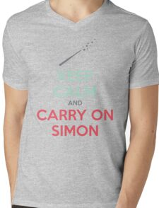Keep Calm and Carry On Simon (Multi-Color Text) Mens V-Neck T-Shirt