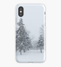 Snowstorm - Tall Trees and Whispering Snowflakes iPhone Case/Skin