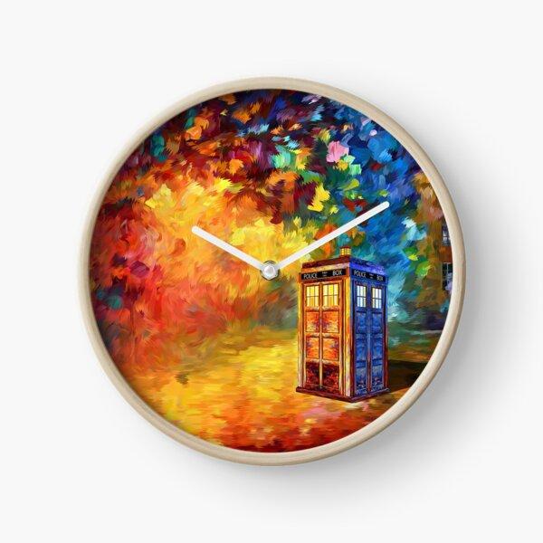 British Police public call box Rainbow abstraction Clock