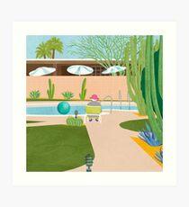 Poolside in Palm Springs Art Print
