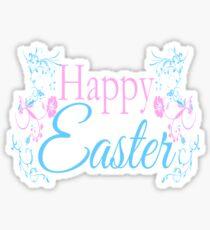 Happy Easter Flowers Design Sticker