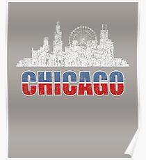 Chicago, Illinois, USA. Distressed, Retro, Vintage Grunge Poster
