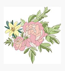 Floral Print with Peony and Prairie Lily Photographic Print