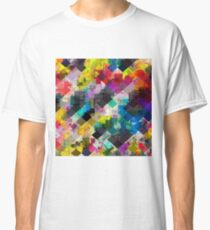 psychedelic square pixel pattern abstract background in red pink blue yellow green Classic T-Shirt
