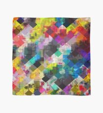 psychedelic square pixel pattern abstract background in red pink blue yellow green Scarf